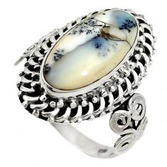 Inel bijuterie din argint 925 cu opal dentritic alb