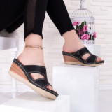 Papuci dama cu talpa ortopedica negri Ramsia