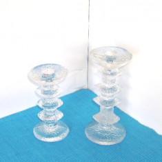 Suporturi cristal lumanare - Festivo 2 - design Timo Sarpaneva, Iittala Finlanda