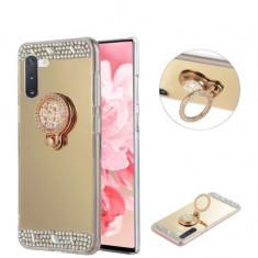 Husa silicon oglinda , pietricele si inel  Samsung Galaxy Note 10 Auriu
