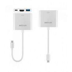 Adaptor USB 3 in 1 Type-C la HDMI+USB Type-C+USB, Astrum DA620