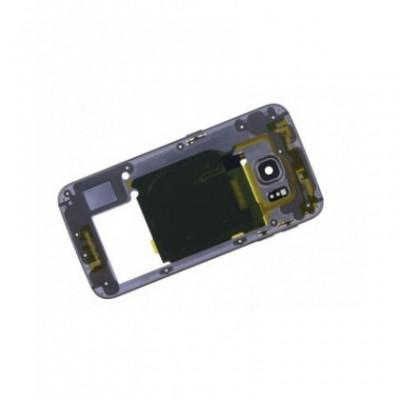 Carcasa Mijloc cu geam camera / blitz , Samsung G925 Galaxy S6 Edge Gold Orig Swap B foto