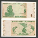 ZIMBABWE  5  DOLLARS  DOLARI   2009  UNC   [1]  P- 93  ,   necirculata
