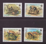 111-WWF SOMALIA 1992 -serie de 4 timbre nestampilate,tematica animale,MNH, Nestampilat