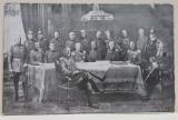 IMPARATUL WILHELM II , FOTOGRAFIE DE GRUP CU INALTI COMANDANTI MILITARI ( LUDENDORFF, TIRPITZ , HINDENBURG , ETC. ) , CARTE POSTALA ILUSTRATA , MONOCR