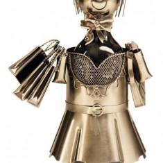 Suport pentru Sticla Vin model Fata la Cumparaturi Metal Lucios Capacitate 1 Sticla H 33 cm