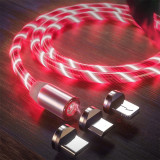 [Indika]Cablu Magnetic cu LED 3in1 Type C/Micro USB/Lightning 1M-Red