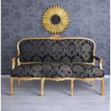 Sofa baroc din lemn masiv auriu cu tapiterie din matase albastra CAT361A34D, Sufragerii si mobilier salon