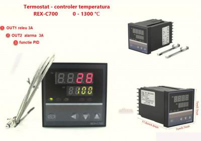 Termostat electronic Controler temperatura PID 0-400 REX-C700 cu sonda K foto