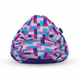 Cumpara ieftin Fotoliu Units Puf (Bean Bag) tip para, impermeabil, cu maner, 80 x 90 x 68 cm, lego tetris mov