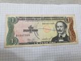 bancnota rep. dominicana 1 p 1984 cu stampila