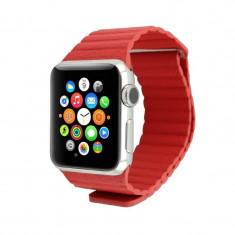 Curea piele pentru Apple Watch 44mm iUni Red Leather Loop