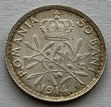 50 Bani 1914 Bruxelles  Argint, Romania, a UNC, Patina