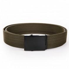 Curea pentru barbati, culoare verde, lungime ajustabila, catarama din metal - A030