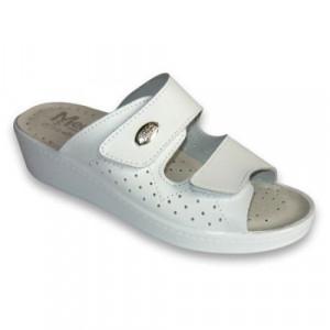 Papuci Saboti Dama Medi+410, Piele Naturala Culoare-Alb, Albastru, Bej
