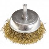 Perie cupa pentru bormasina, 50 mm, cu coada, sarma ondulata din otel// MTX...