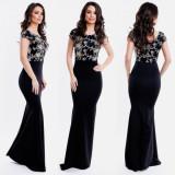 Rochie de seara lunga neagra cu corset dantelat
