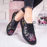 Pantofi dama casual Piele negru cu flori Risida