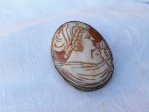 MEDALION si BROSA argint CAMEE pe SCOICA vintage VECHE de efect SPLENDIDA rara