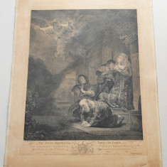 """Rembrandt """"The angel departing from Tobit & his Family"""" gravura veche 1765"""