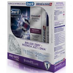 Pachet albire dinti, perie dinti electrica Oral B Pro 600 D16 + emulsie BAM Accelerator + pasta dinti White Brillance