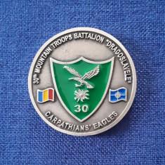 """Medalie militara - Batalionul Vanatori de munte """" Dragoslavele """" - Campulung"""