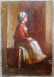 Femeie sezand// ulei pe carton