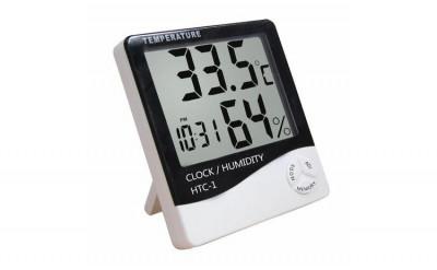 Higrometru si termometru de camera cu ceas si ecran lcd mare foto