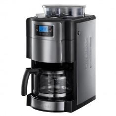 RESIGILAT: Cafetiera Russell Hobbs, Rasnita incorporata, 1000 W, LCD, 1.5 l, 12 Cesti, Argintiu/Negru