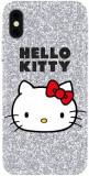Protectie Spate Hello Kitty Glitter pentru Apple iPhone X/XS (Argintiu)