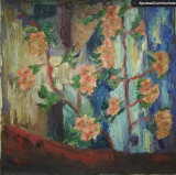 Cumpara ieftin Tablou vechi flori, ulei pe panza, mare, 60 x 60, fara rama, semnat, Realism