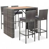 Set mobilier bar exterior, 5 piese, gri, poliratan, lemn acacia, vidaXL