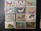 Lot timbre fauna fluturi pasari animale stampilate Madagascar timbre postale