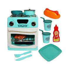 Bucatarie de jucarie pentru copii, cu aragaz, cuptor si alte accesorii cu sunete sunete, 15.7x21.5 cm, Albastru