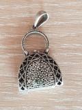 Poseta- medalion - pandantiv pt lantisor argint 925 decorata zirconiu briliant