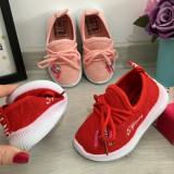 Adidasi rosii moi usori flexibili din material textil pt fetite 21 24, Fete