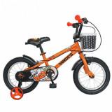 Bicicleta Copii VELORS V1401A, Roti 14inch, cosulet, roti ajutatoare (Portocaliu)