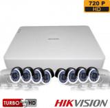 Sistem supraveghere exterior basic Hikvision TVI 8EXT20 720P S 8 camere 1 MP IR 20 m DS 2CE16C0T IRPF ; DS 7108HGHI F1