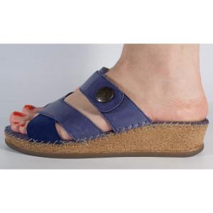 Saboti platforma piele naturala albastri (cod 14046-12)