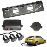 Set senzori parcare auto cu buzzer kit suport numar inmatriculare spate