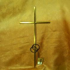 Crucifix Art Deco bronz, fier forjat, colectie, cadou, vintage