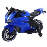 Motocicleta electrica cu scaun de piele si lumini LED Napoleon Blue, Moni