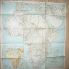 Harta Africii 75x80cm ,-National Geographic 1935 Rute Aeriene si Relief