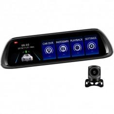 "Camera Video Auto Oglinda DVR Dubla FullHD Techstar® K62, Unghi 170°, Display LED 10"", Nightvision, Wide Range, cu Microfon"