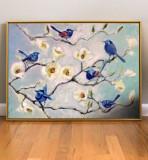 Tablou cu peisaj de primavar, Tablou cu flori, tablou cu ramuri cu flori