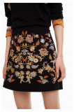Fusta mini cu imprimeu floral brodat Bruna, Marimea 42, Desigual, Multicolor