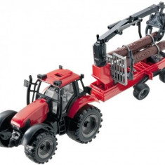Jucarie tractor cu brat macara si remorca cu lemne 4466 Mondo