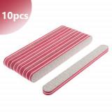 Pilă unghii cu centru dublu, roșu, zebră - 80/80 - 10buc