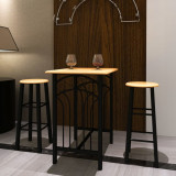 Set masă și scaune, lemn cafeniu si otel, Negru, vidaXL