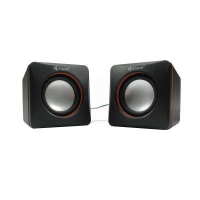 Boxe 2.0 Kisonli V310, 5W, stereo, alimentare usb, 1 x jack 3.5mm, negru/rosu/albastru foto